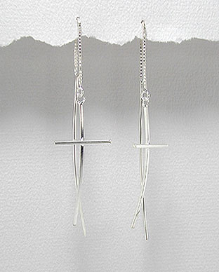 Sterling Silver Cross Threader Earrings With Ball